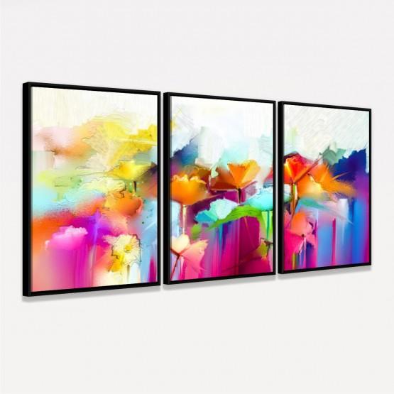 Quadro Abstrato Flores Coloridas Artístico Mosaico