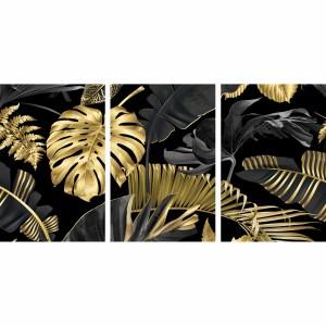 Quadro Folhagem Tropical Preto e Dourada Abstrato