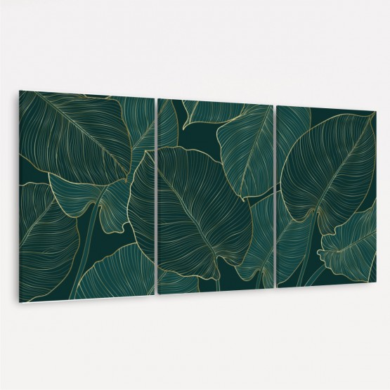 Quadro Folhas Trio Folhagem Verde Detalhes Dourados