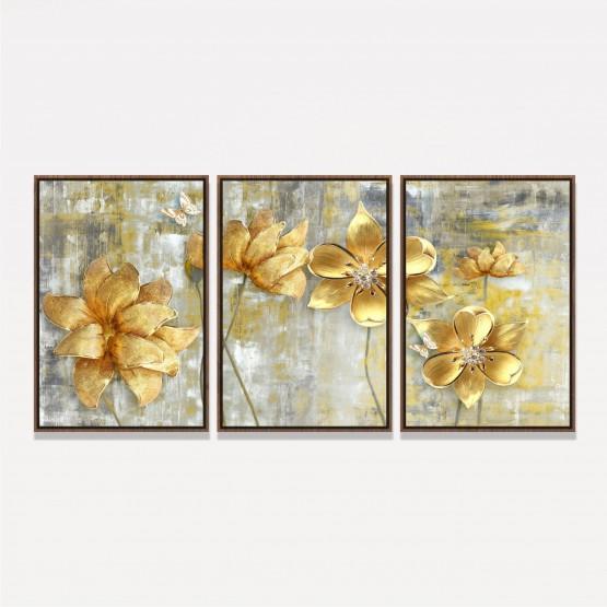 Quadro Flores Douradas Artístico Abstrato