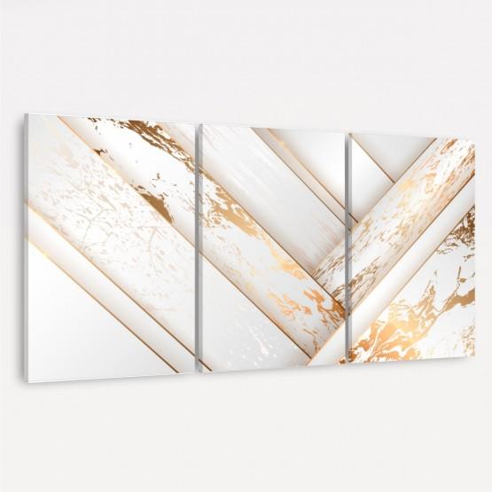 Quadro Abstrato Branco Efeito Mármore Dourado Jogo 3 Peças