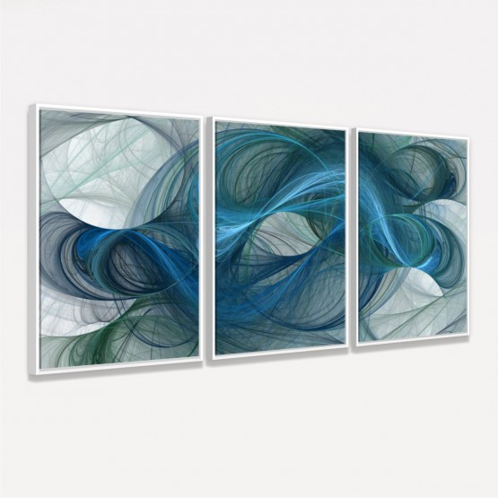 Quadro Abstrato Arte Linhas Orgânicas em Azul