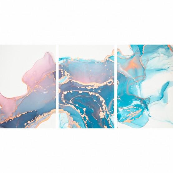 Quadro Abstrato Clean Moderno Branco Design Mármore Azul