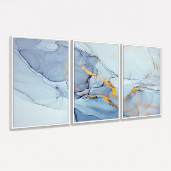 Quadro Abstrato Design Marmorizado em Azul - 3 Peças
