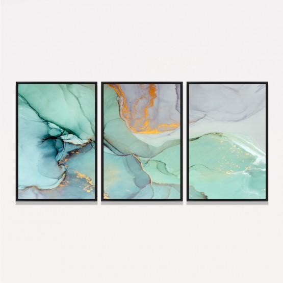 Quadro Abstrato Arte Mármore Moderno - 3 Peças