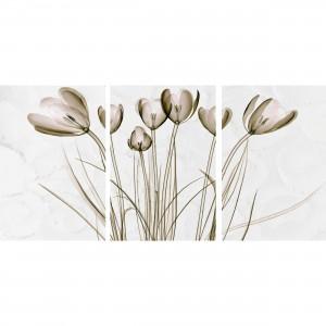 Quadro Flores Tulipas Efeito Ouro Envelhecido