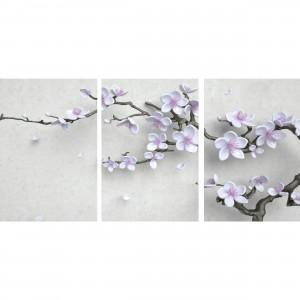 Quadro Ramo Flores Cerejeiras Brancas Jogo 3 Peças