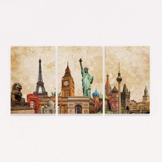 Quadro Moderno Pontos Turísticos - Tour the World