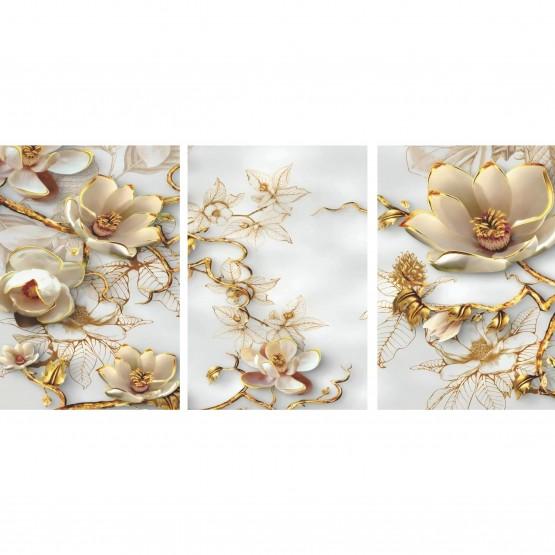 Quadro Flores Ramos Dourados Abstrato Moderno - 3 Peças