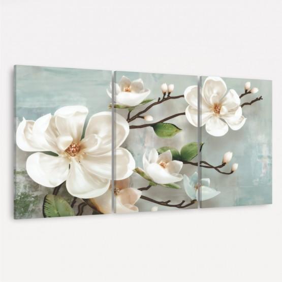 Quadro Decorativo Flores Brancas Abstrato
