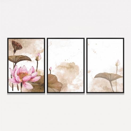 Quadro Flores Aquarela Vintage decorativo