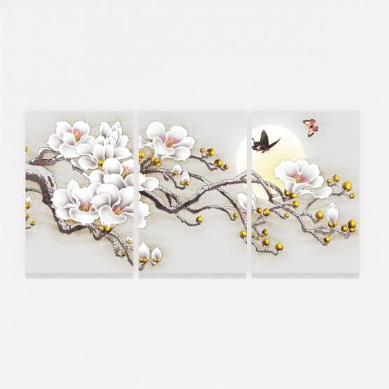 Quadro Abstrato Ramo Flores Brancas Artístico