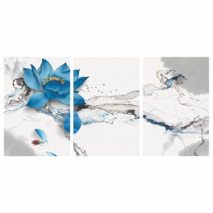 Quadro de Flor Azul Artístico em Abstrato