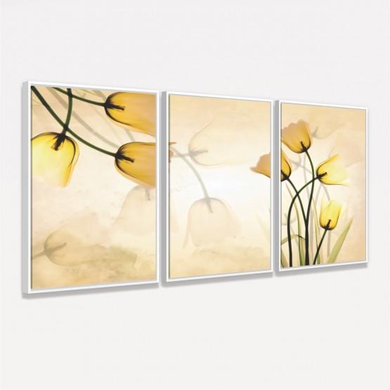 Quadro Flores Tulipas Amarelas Digital Moderno