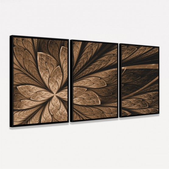 Quadro Decorativo Abstrato Marrom Flor Efeito Fractal