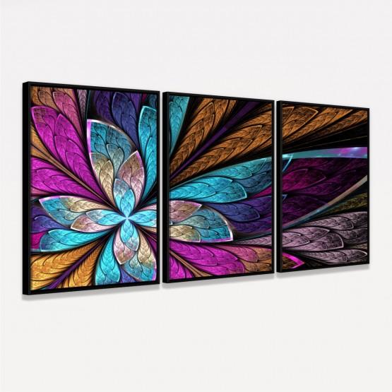 Quadro Decorativo Abstrato Marrom Flor Colorida Fractal