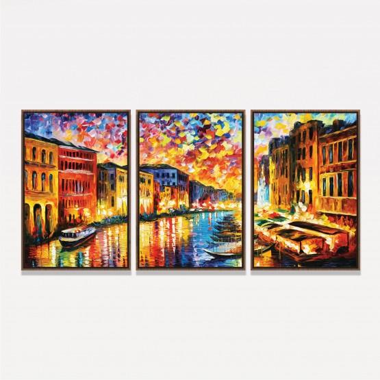 Quadro Canal de Veneza Abstrato em Arte Moderno