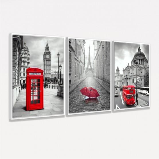 Quadros Paris Londres Canvas Detalhes em Vermelho