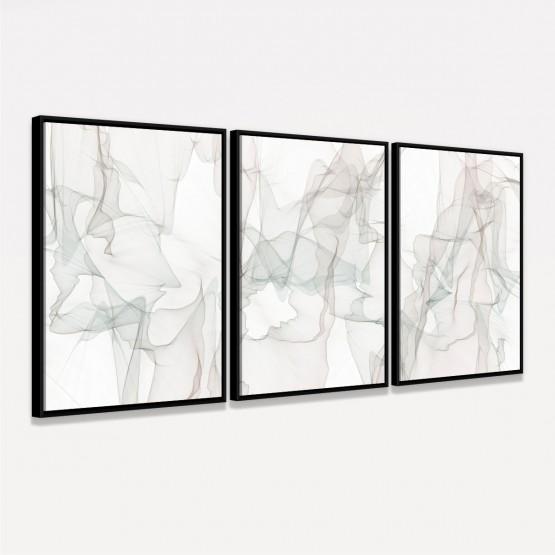 Quadro Abstrato Clean Moderno Kit 3 Peças