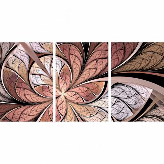 Quadro Flor Abstrata Tons Rose Moderno 3 Peças