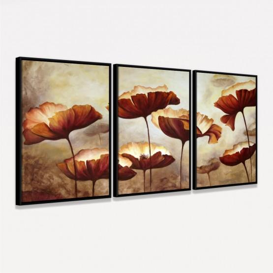 Quadro Flores Papoulas Aquarela em Arte decorativo