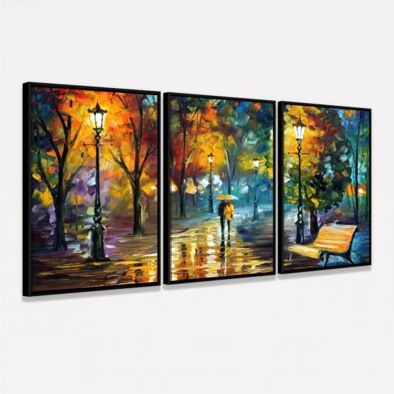 Quadro Abstrato Artístico Moderno em 3 Peças - Couple in the Rain