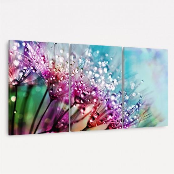 Quadro Flores Dente Leão Colorido Abstrato