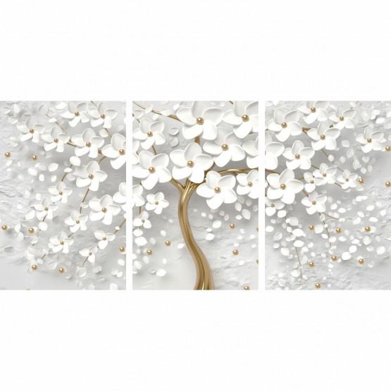 Quadro Flores de Cerejeiras Brancas e Douradas decorativo