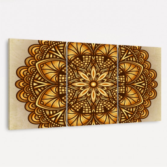 Quadro Decorativo Mandala Tons Dourados