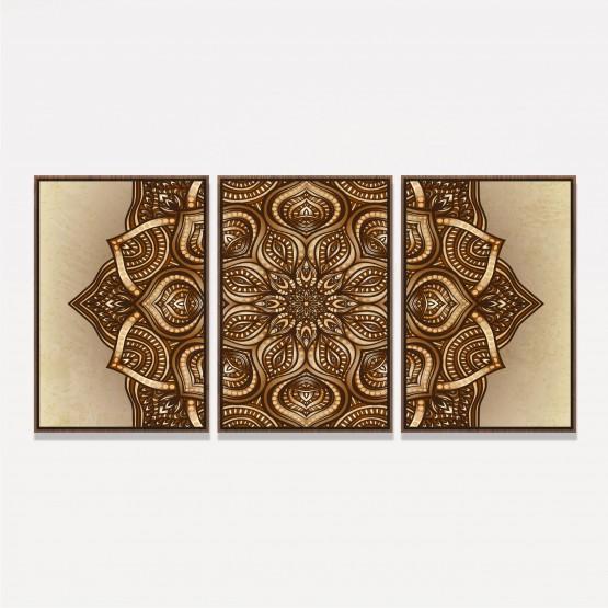 Quadro Mandala Marrom Artístico 3 Peças
