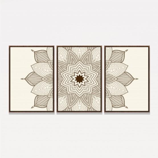 Quadro decorativo Abstrato Mandala Clean - 3 Peças