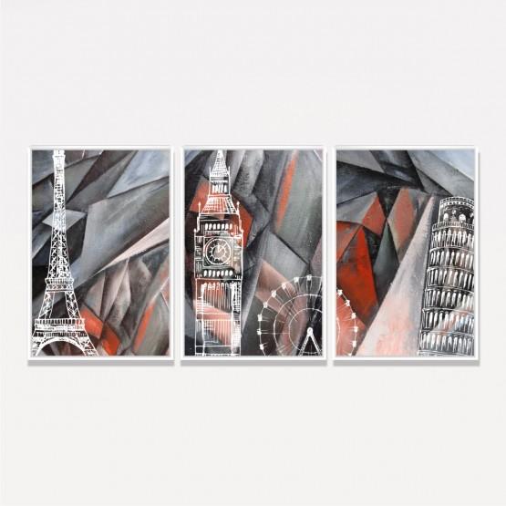 Quadros Torre Eiffel Big Ben e Torre de Pisa Trio em Arte Abstrata