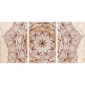 Quadro Mandala Floral Vintage decorativo 3 Peças