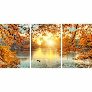 Quadro Paisagem Decorativo Entardecer Arvores e Lago