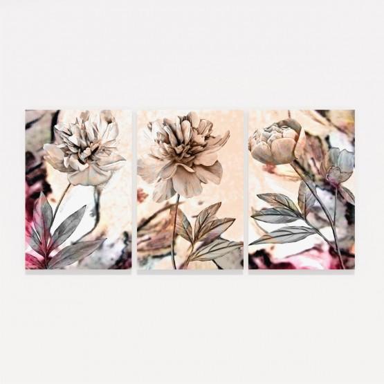 Quadros decorativos Flores Peônias em Arte Moderna Abstrata