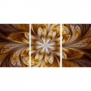 Quadro Abstrato Golden Fractal - 3 Peças