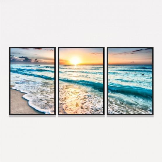 Quadro Decorativo Praia Mar Paisagem Ondas ao Entardecer