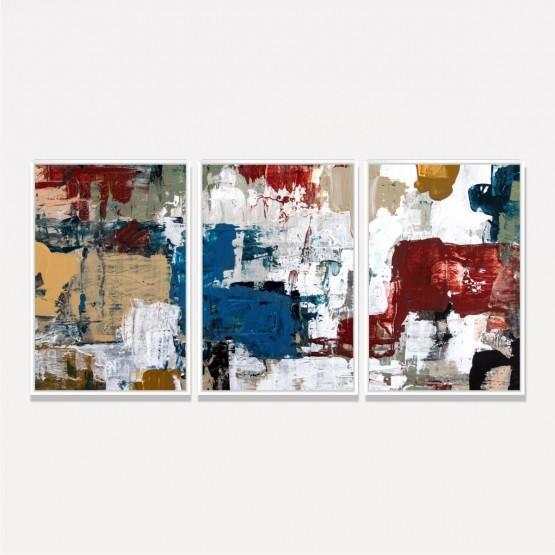 Quadro Abstrato Pinceladas Tons Terrosos
