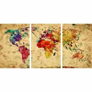 Quadro Mapa Mundi Rústico Colorido Mosaico