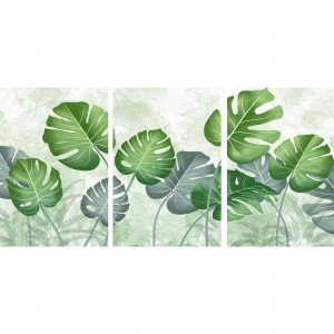 Quadro Folhas em Arte Costela de Adão decorativo - 3 Peças