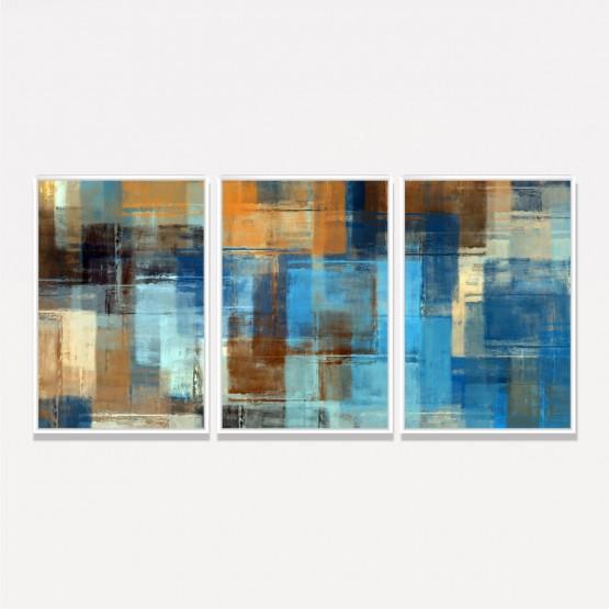 Quadro Arte Abstrata Moderna Jogo 3 Peças decorativo
