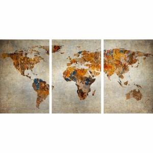 Quadro Mapa Mundi em Arte Rústica Vintage decorativo