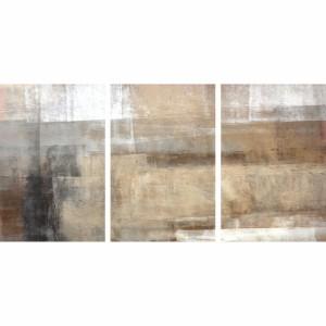 Quadro Abstrato Pinceladas Retas Moderno Conjunto 3 Peças