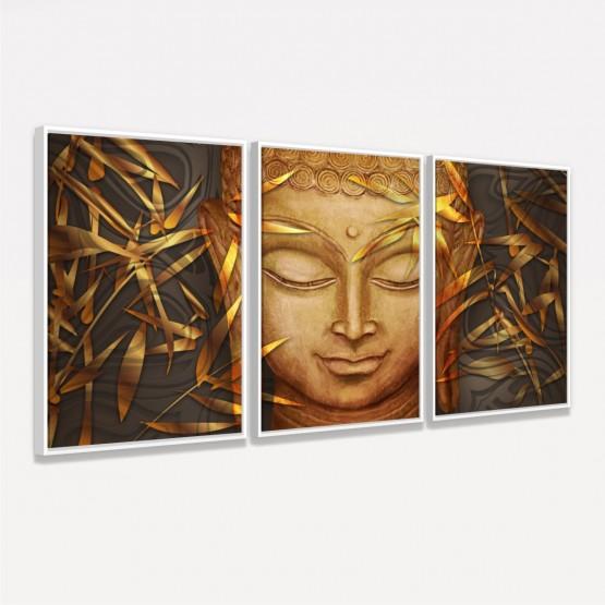 Quadro Buda em Arte Dourado Mosaico em 3 Peças
