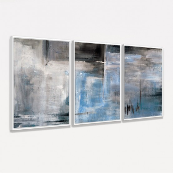 Quadro Abstrato em Arte Moderno Pincelada de Preto e Azul