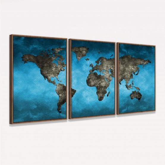 Quadro Mapa Mundi Artístico Azul Moderno