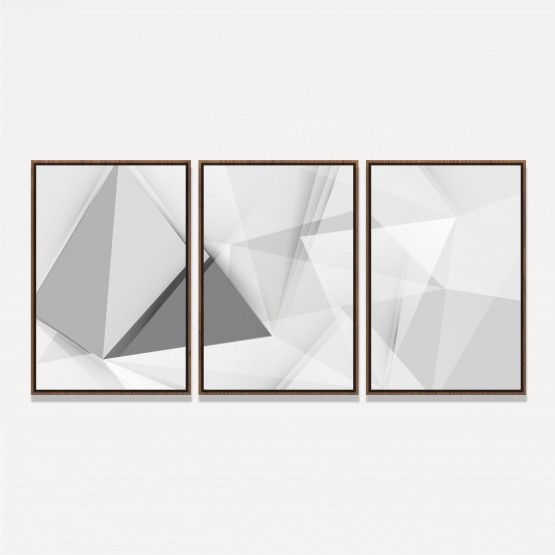Quadro Abstrato Clean Geométrico - White and Grey