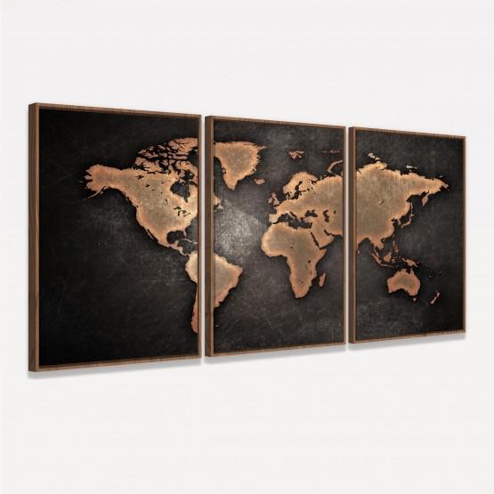 Quadro Mapa Mundi Efeito Vintage Mosaico 3 Peças