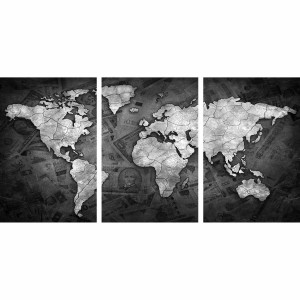 Quadro Mapa Mundi Decorativo Sea of Money