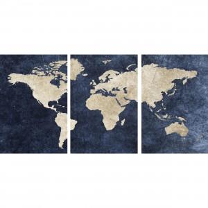 Quadro Mapa Mundi decorativo Efeito Rústico Azul em 3 Peças